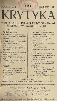 Krytyka : miesięcznik społeczny, naukowy i literacki. R. 13, z. 4 (1911)