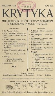 Krytyka : miesięcznik społeczny, naukowy i literacki. R. 13, z. 5 (1911)