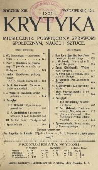 Krytyka : miesięcznik społeczny, naukowy i literacki. R. 13, z. 10 (1911)