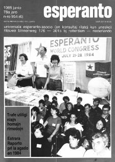 Esperanto : revuo internacia : oficiala organo de Universala Esperanto Asocio. Jaro 78, n. 954 (1985)