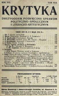 Krytyka : miesięcznik społeczny, naukowy i literacki. R. 16, z. 3 (1914)