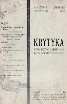 Krytyka : miesięcznik społeczny, naukowy i literacki. R. 2, z. 8 (1900)