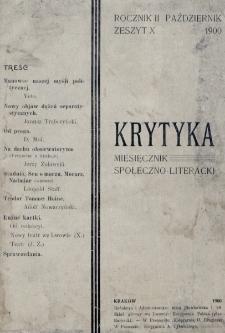 Krytyka : miesięcznik społeczny, naukowy i literacki. R. 2, z. 10 (1900)