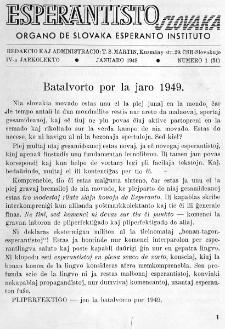 Esperantisto Slovaka. Jarkolekto 4, No 1=31 (1949)