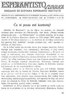Esperantisto Slovaka. Jarkolekto 4, No 2/3=32/33 (1949)