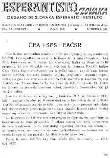 Esperantisto Slovaka. Jarkolekto 4, No 6=36 (1949)