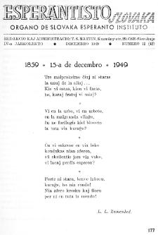 Esperantisto Slovaka. Jarkolekto 4, No 12=42 (1949)
