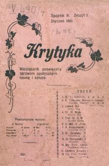 Krytyka : miesięcznik społeczny, naukowy i literacki. R. 3, z. 1 (1901)