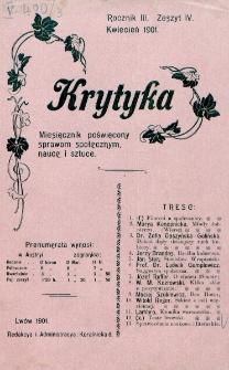 Krytyka : miesięcznik społeczny, naukowy i literacki. R. 3, z. 4 (1901)