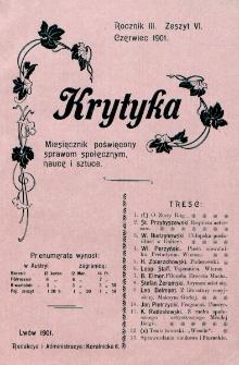 Krytyka : miesięcznik społeczny, naukowy i literacki. R. 3, z. 6 (1901)