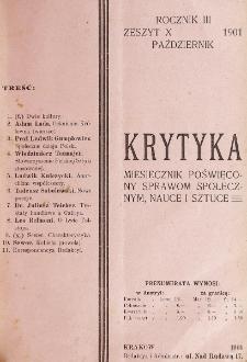 Krytyka : miesięcznik społeczny, naukowy i literacki. R. 3, z. 10 (1901)