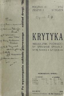 Krytyka : miesięcznik społeczny, naukowy i literacki. R. 4, z. 1 (1902)