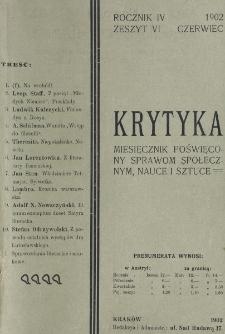 Krytyka : miesięcznik społeczny, naukowy i literacki. R. 4, z. 6 (1902)