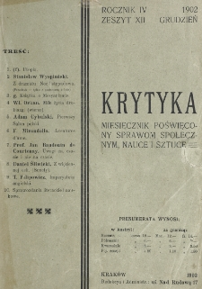 Krytyka : miesięcznik społeczny, naukowy i literacki. R. 4, z. 12 (1902)