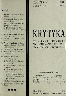 Krytyka : miesięcznik społeczny, naukowy i literacki. R. 5, z. 5 (1903)