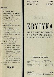 Krytyka : miesięcznik społeczny, naukowy i literacki. R. 5, z. 7 (1903)