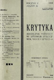 Krytyka : miesięcznik społeczny, naukowy i literacki. R. 5, z. 11 (1903)