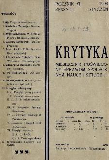 Krytyka : miesięcznik społeczny, naukowy i literacki. R. 6, z. 1 (1904)