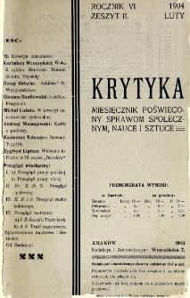 Krytyka : miesięcznik społeczny, naukowy i literacki. R. 6, z. 2 (1904)