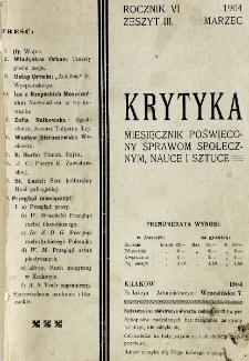 Krytyka : miesięcznik społeczny, naukowy i literacki. R. 6, z. 3 (1904)