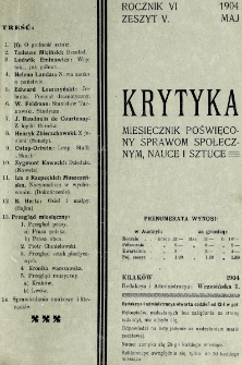Krytyka : miesięcznik społeczny, naukowy i literacki. R. 6, z. 5 (1904)