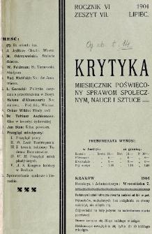 Krytyka : miesięcznik społeczny, naukowy i literacki. R. 6, z. 7 (1904)
