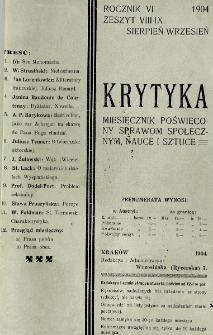 Krytyka : miesięcznik społeczny, naukowy i literacki. R. 6, z. 8/9 (1904)