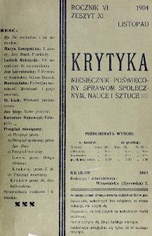Krytyka : miesięcznik społeczny, naukowy i literacki. R. 6, z. 11 (1904)