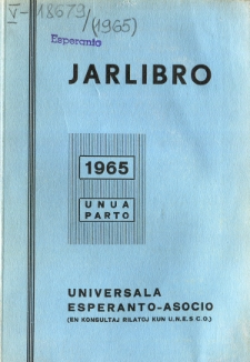 Oficiala Jarlibro / Universala Esperanto Asocio. 1965 (Unua Parto)
