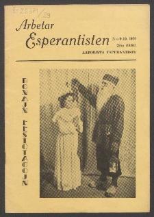 Arbetar Esperantisten = Laborista Esperantisto. Jaro 29, no. 9/10 (1950)