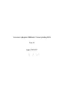 Inwentarz rękopisów Biblioteki Uniwersyteckiej KUL T. 11