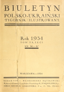 Biuletyn Polsko-Ukraiński. T. 3 (1934), Spis rzeczy w tomie III zawartych