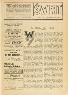 Świat : pismo tygodniowe ilustrowane poświęcone życiu społecznemu, literaturze i sztuce. R. 6 (1911), nr 1 (7 stycznia)