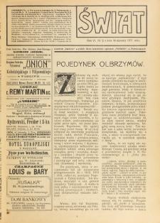 Świat : pismo tygodniowe ilustrowane poświęcone życiu społecznemu, literaturze i sztuce. R. 6 (1911), nr 2 (14 stycznia)