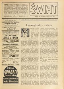 Świat : pismo tygodniowe ilustrowane poświęcone życiu społecznemu, literaturze i sztuce. R. 6 (1911), nr 6 (11 lutego)
