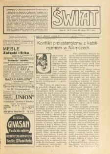 Świat : pismo tygodniowe ilustrowane poświęcone życiu społecznemu, literaturze i sztuce. R. 6 (1911), nr 7 (18 lutego)