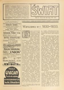 Świat : pismo tygodniowe ilustrowane poświęcone życiu społecznemu, literaturze i sztuce. R. 6 (1911), nr 8 (25 lutego)