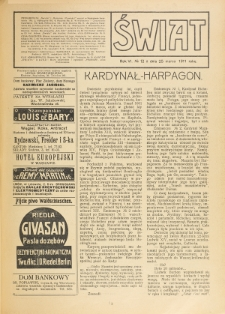 Świat : pismo tygodniowe ilustrowane poświęcone życiu społecznemu, literaturze i sztuce. R. 6 (1911), nr 12 (25 marca)