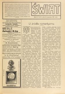 Świat : pismo tygodniowe ilustrowane poświęcone życiu społecznemu, literaturze i sztuce. R. 6 (1911), nr 15 (15 kwietnia)