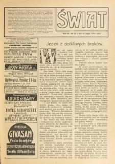 Świat : pismo tygodniowe ilustrowane poświęcone życiu społecznemu, literaturze i sztuce. R. 6 (1911), nr 18 (6 maja)