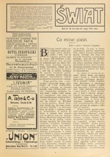 Świat : pismo tygodniowe ilustrowane poświęcone życiu społecznemu, literaturze i sztuce. R. 6 (1911), nr 21 (27 maja)