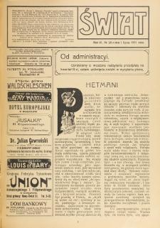 Świat : pismo tygodniowe ilustrowane poświęcone życiu społecznemu, literaturze i sztuce. R. 6 (1911), nr 26 (1 lipca)