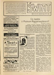 Świat : pismo tygodniowe ilustrowane poświęcone życiu społecznemu, literaturze i sztuce. R. 6, nr 30 (1911), nr 30 (29 lipca)