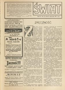 Świat : pismo tygodniowe ilustrowane poświęcone życiu społecznemu, literaturze i sztuce. R. 6 (1911), nr 32 (12 sierpnia)