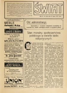 Świat : pismo tygodniowe ilustrowane poświęcone życiu społecznemu, literaturze i sztuce. R. 6 (1911), nr 28 (15 lipca)