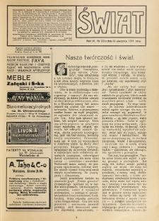 Świat : pismo tygodniowe ilustrowane poświęcone życiu społecznemu, literaturze i sztuce. R. 6 (1911), nr 33 (19 sierpnia)