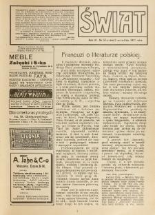Świat : pismo tygodniowe ilustrowane poświęcone życiu społecznemu, literaturze i sztuce. R. 6 (1911), nr 35 (2 września)