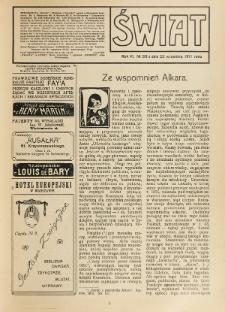 Świat : pismo tygodniowe ilustrowane poświęcone życiu społecznemu, literaturze i sztuce. R. 6 (1911), nr 39 (30 września)