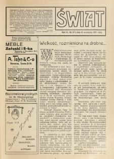 Świat : pismo tygodniowe ilustrowane poświęcone życiu społecznemu, literaturze i sztuce. R. 6 (1911), nr 37 (16 września)