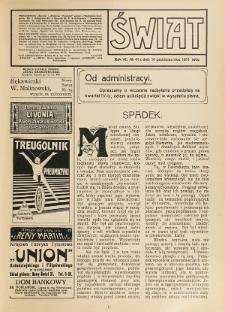 Świat : pismo tygodniowe ilustrowane poświęcone życiu społecznemu, literaturze i sztuce. R. 6 (1911), nr 41 (14 października)